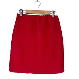 Forever 21 Red Ribbed Pencil Mini Skirt Size S
